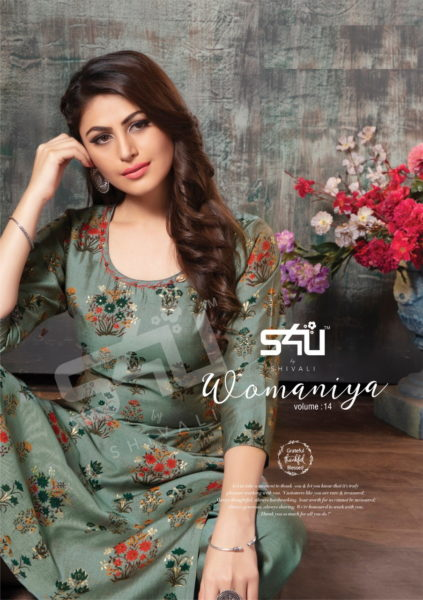 s4u Womaniya vol 14 Long Kurtis with palazzo set wholesalers