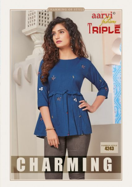 Aarvi Triple 3 vol 2 Short Tops Kurtis wholesalers