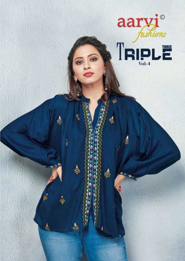 Aarvi Triple 3 vol 4 Short Tops Kurtis wholesalers