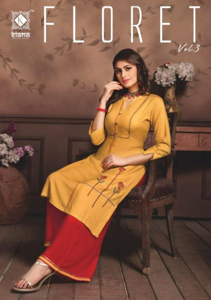Kiana Floret vol 3 Kurtis & Bottom Wholesalers