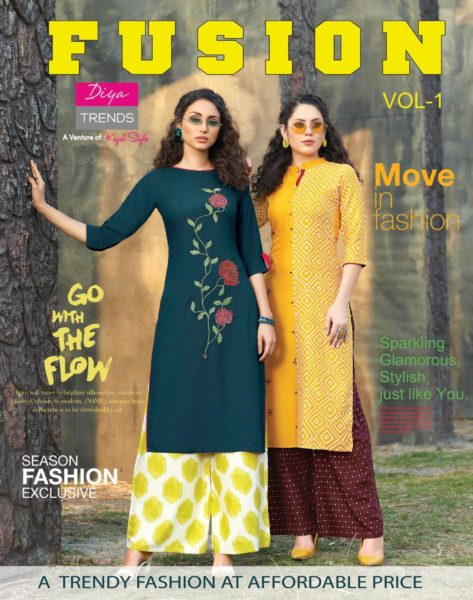Diya Fusion vol 1 Kurtis with Palazzo & Pants wholesalers