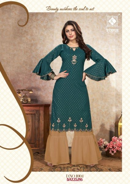 Kiana Dazzling Long Kurtis with Sharara Wholesalers