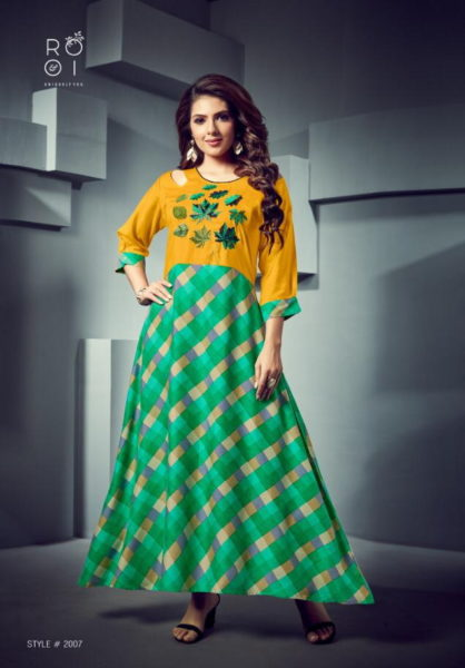 Rooi Fashion season Gown Kurtis Wholesalers