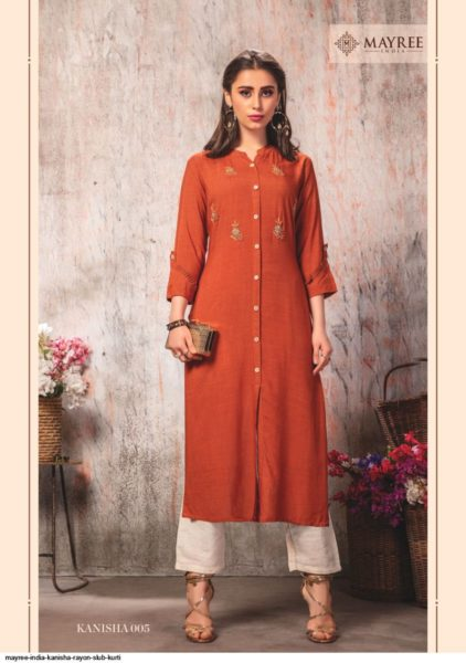 Kanisha Rayon Slub Long Kurtis wholesalers