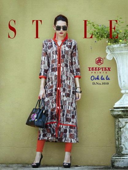 Deeptex Ooh Lala Rayon Digital print Kurtis wholesalers