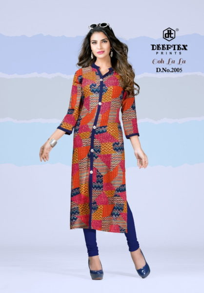 Deeptex ooh La La vol 3 Rayon Kurtis wholesale supplier