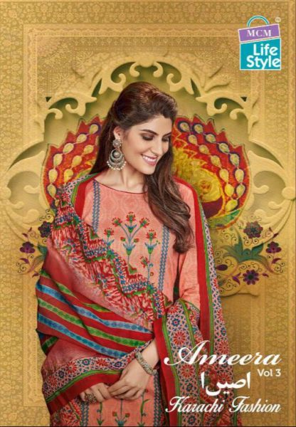 Mcm Ameera vol 3 Karachi print Dress Materials