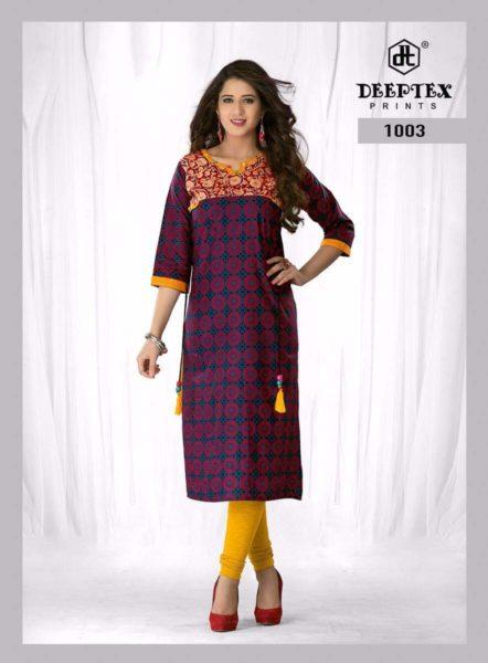 Deeptex Miss Blue Cotton Kurtis Wholesalers