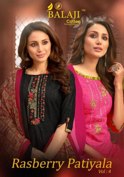 Balaji Rasberry Patiyala vol 4 Cotton Suits with work