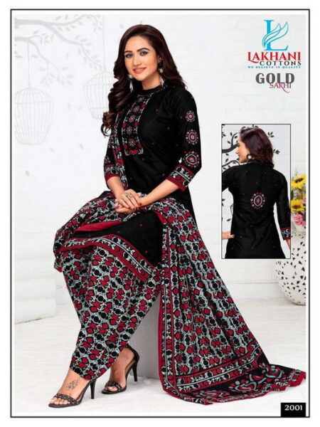 Lakhani Sakhi Gold Cotton Printed Salwar suits