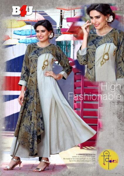 B4U V Desi Long Designer Kurtis wholesalers