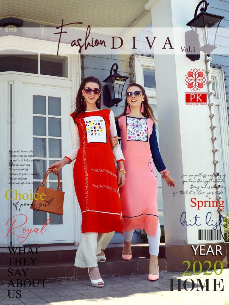 Aradhana Fashion Diva vol 1 Rayon Kurtis wholesalers