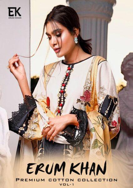 Erum Khan Karachi print Cotton Dress Materials