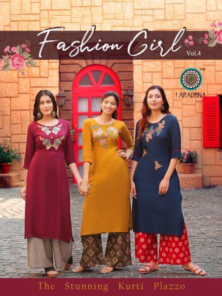 Fashion Girl vol 4 Kurtis with Palazzo Wholesalers