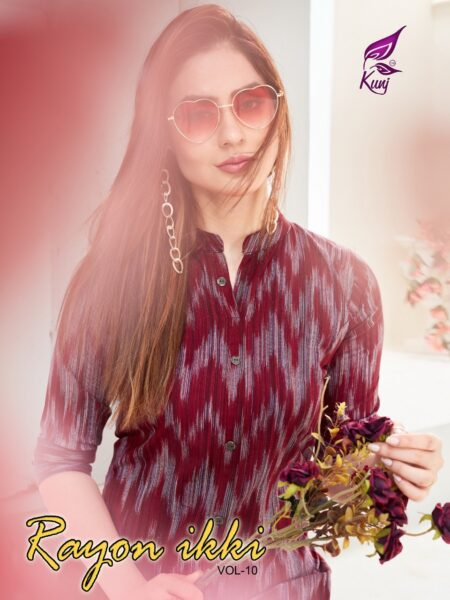 Rayon Ikki vol 10 Ikkat print Rayon Kurtis wholesalers