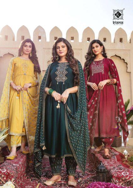 Kiana Ishq Designer Top Bottom Dupatta wholesalers